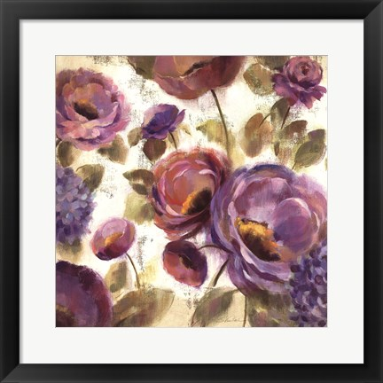 Framed Blue and Purple Flower Song II Print