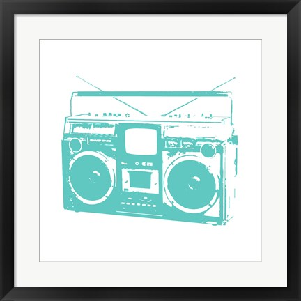 Framed Aqua Boom Box Print