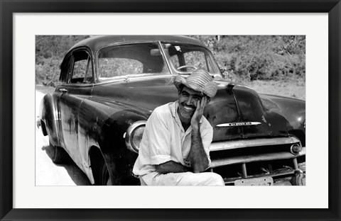 Framed Ricardo With His Chevrolet Print