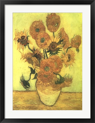 Framed Still Life, Vase With Fifteen Sunflowers Print
