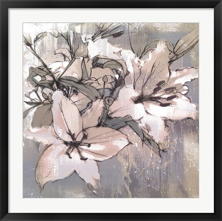 Framed Painted Lilies II Print