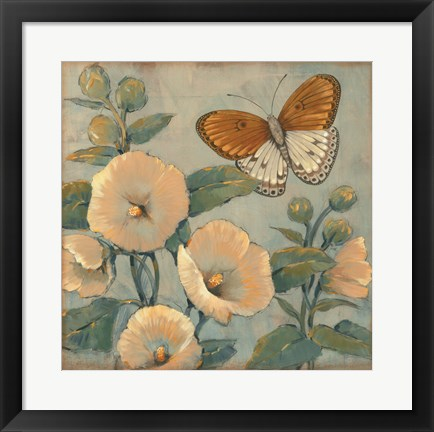 Framed Butterfly & Hollyhocks I Print