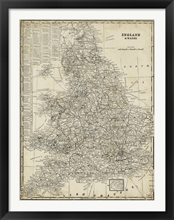 Framed Antique Map of England Print