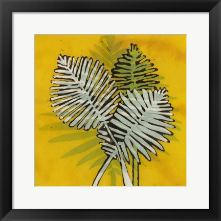 Framed Gold Batik Botanical III Print