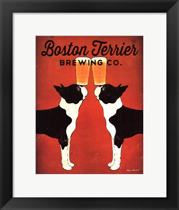 Framed Boston Terrier Brewing Co. Print