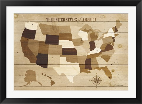 Framed USA Modern Vintage Wood Print