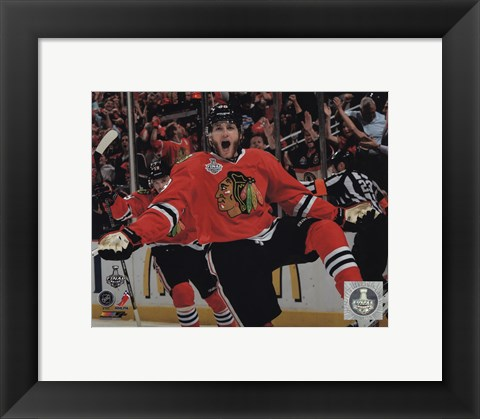 Framed Patrick Kane celebrating first goal Game 5 of the 2013 Stanley Cup Finals Print