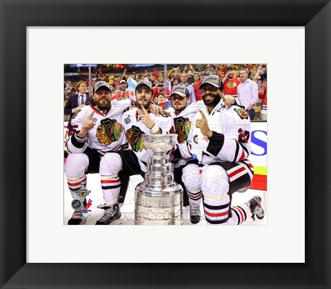Framed Viktor Stalberg, Niklas Hjalmarsson, Marcus Kruger, & Johnny Oduya with the Stanley Cup Game 6 of the 2013 Print