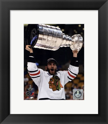 Framed Brandon Saad with the Stanley Cup Game 6 of the 2013 Stanley Cup Finals Print