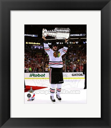 Framed Jonathan Toews with the Stanley Cup Game 6 of the 2013 Stanley Cup Finals Print