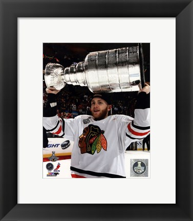 Framed Patrick Kane with the Stanley Cup Game 6 of the 2013 Stanley Cup Finals Print