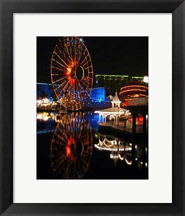 Framed Paradise Pier At Night Print