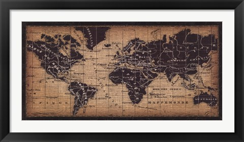 Framed Old World Map ( in French) Print