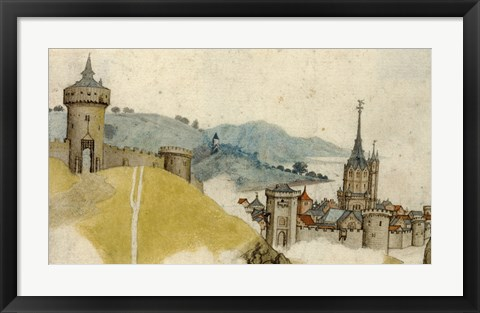 Framed View of a Walled City in River Landscape Print