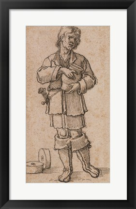 Framed Young Peasant Holding a Jar Print