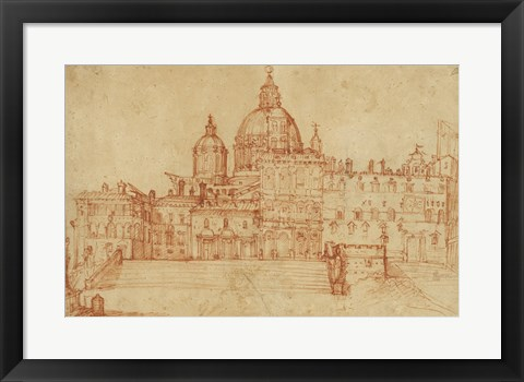 Framed View of Saint Peter's (recto); Study of a Young Man Print