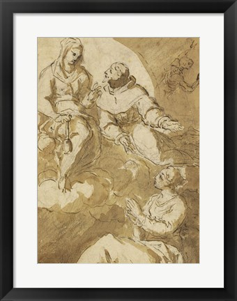 Framed Saint Francis Interceding with the Virgin on Behalf of a Female Saint Print