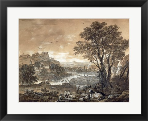 Framed Landscape with Shepherds Resting Under a Tree by a Cascade Print