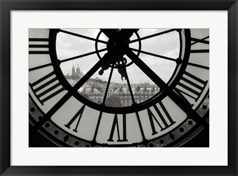 Framed Big Clock Horizontal Black and White Print