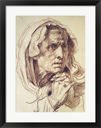 Framed Study of the Head of an Old Woman Print