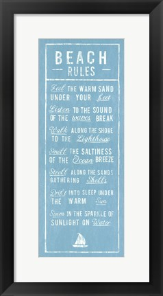 Framed Beach Rules - Aqua Print