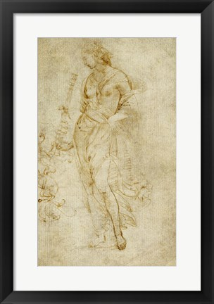 Framed Female Figure with a Tibia, and Ornamental Studies Print