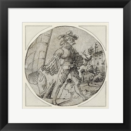 Framed Standard Bearer before a Castle Print