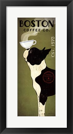 Framed Boston Terrier Coffee Co Print