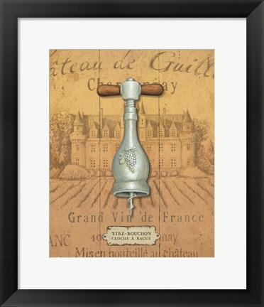 Framed Antique Corkscrew IV Yellow Print