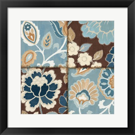 Framed Patchwork Motif Blue I Print