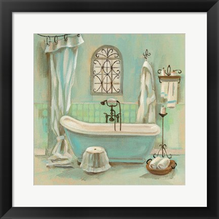 Framed Glass Tile Bath I Print