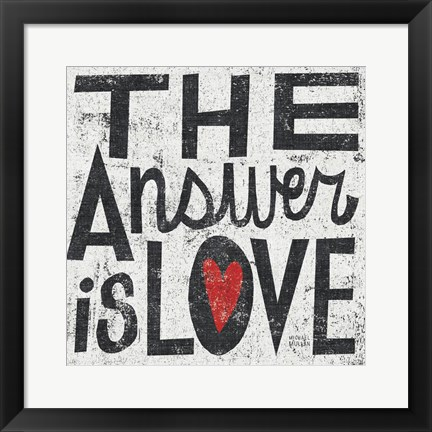 Framed Answer is Love Grunge Square Print