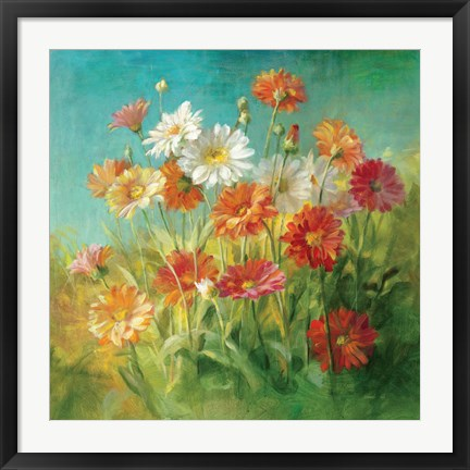 Framed Painted Daisies Print