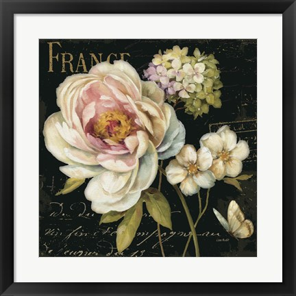 Framed Marche de Fleurs on Black Print