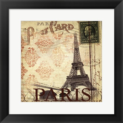 Framed Paris Postcard Print