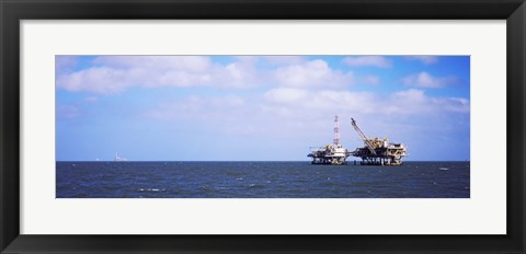 Framed Natural gas drilling platform in Mobile Bay, Alabama, USA Print