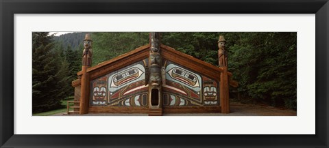 Framed Facade of a Clan House, Totem Bight State Historical Park, Ketchikan, Alaska, USA Print