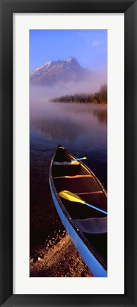 Framed Canoe and Leigh Lake in the Fog, Grand Teton National Park, Wyoming Print