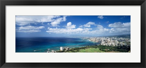 Framed High angle view of skyscrapers at the waterfront, Honolulu, Oahu, Hawaii Islands, USA Print