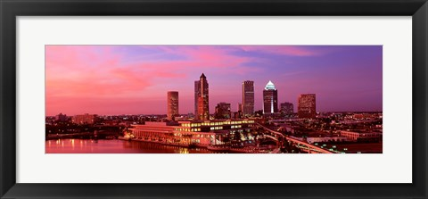Framed USA, Florida, Tampa , night Print