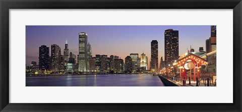 Framed View Of The Navy Pier And Skyline, Chicago, Illinois, USA Print