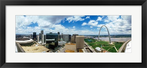 Framed Buildings in a city, Gateway Arch, St. Louis, Missouri, USA Print