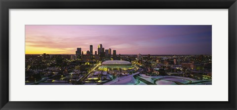 Framed Skyscrapers lit up at sunset, Minneapolis, Minnesota, USA Print