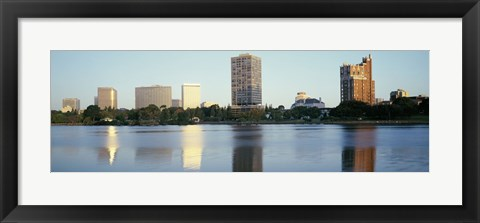 Framed Lake Merritt with skyscrapers, Oakland, California Print