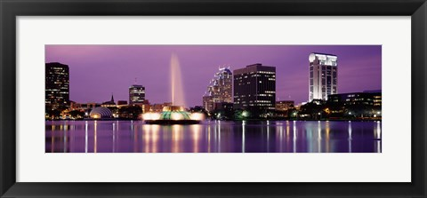 Framed View Of A City Skyline At Night, Orlando, Florida, USA Print