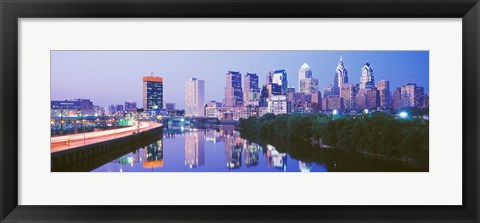 Framed Philadelphia Lit Up at Night Print