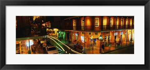 Framed Bourbon Street at night, New Orleans LA Print