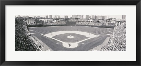 Framed Wrigley Field in black and white, USA, Illinois, Chicago Print
