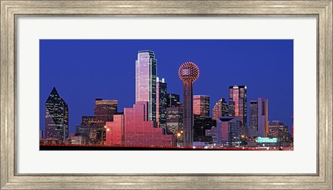 Framed USA, Texas, Dallas, Panoramic view of an urban skyline at night Print