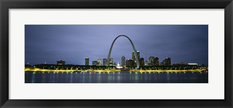 Framed Buildings Lit Up At Dusk, Mississippi River, St. Louis, Missouri, USA Print